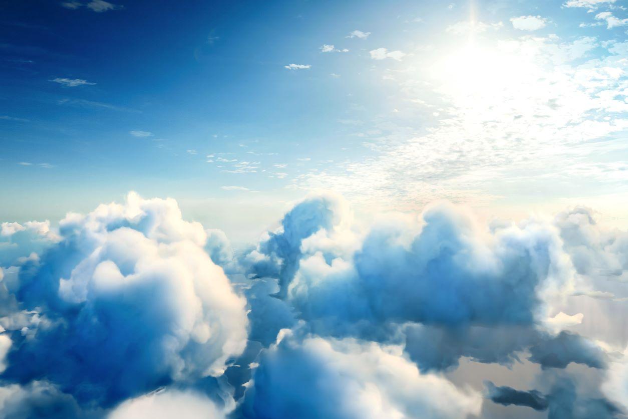11Clouds, blue sky, and sun
