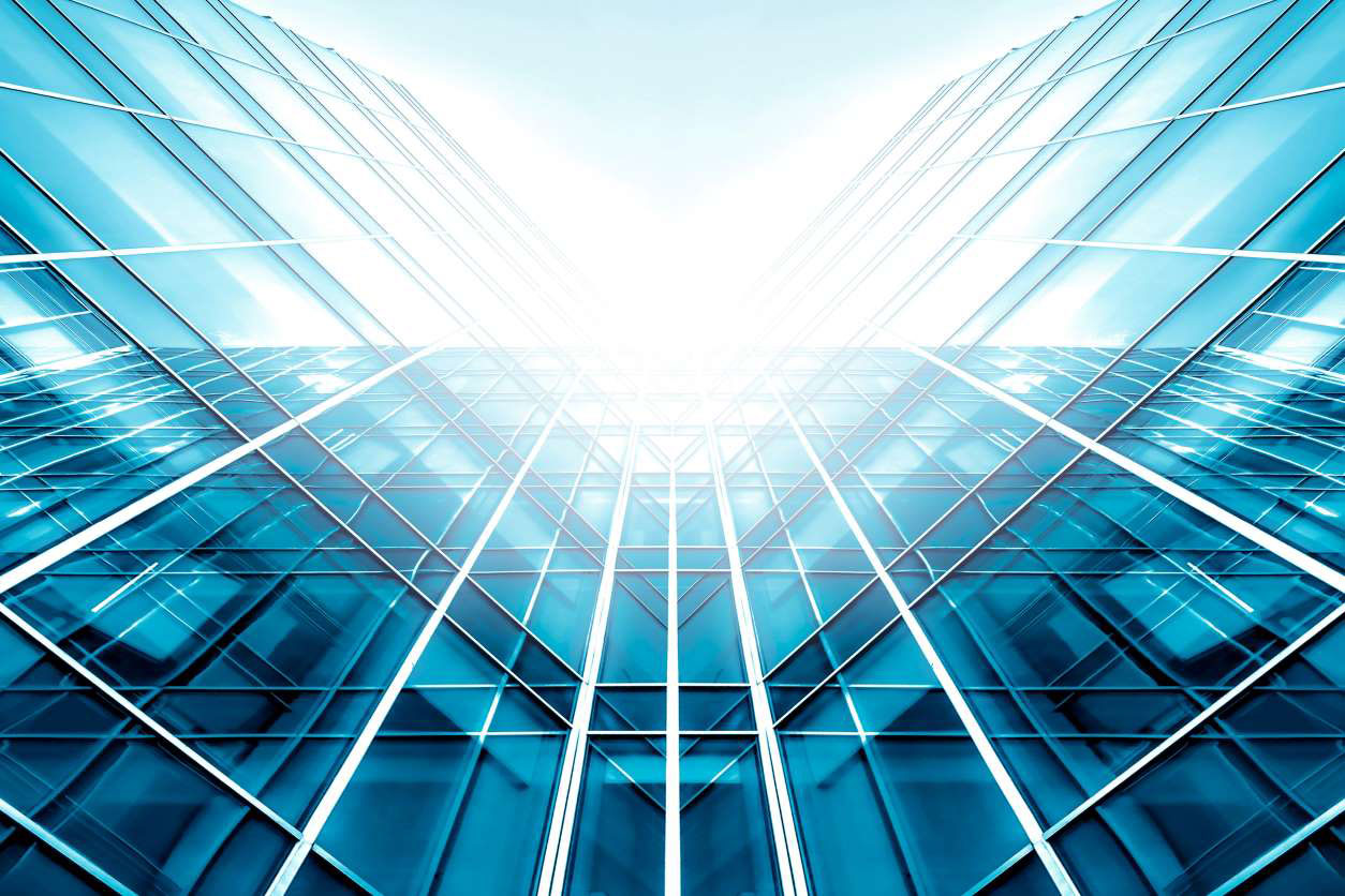 11Abstract glass skyscraper with sky