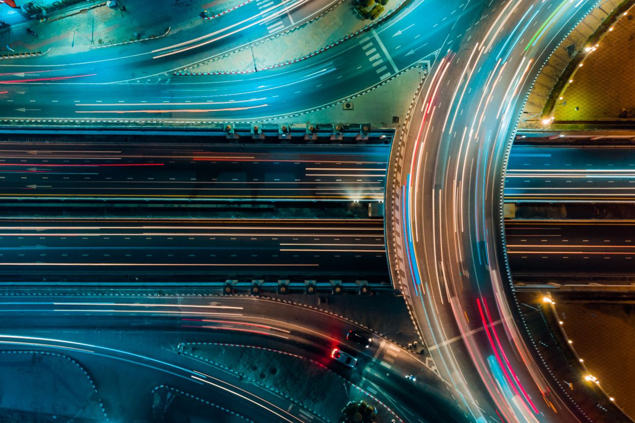 11Overhead view of highway at night