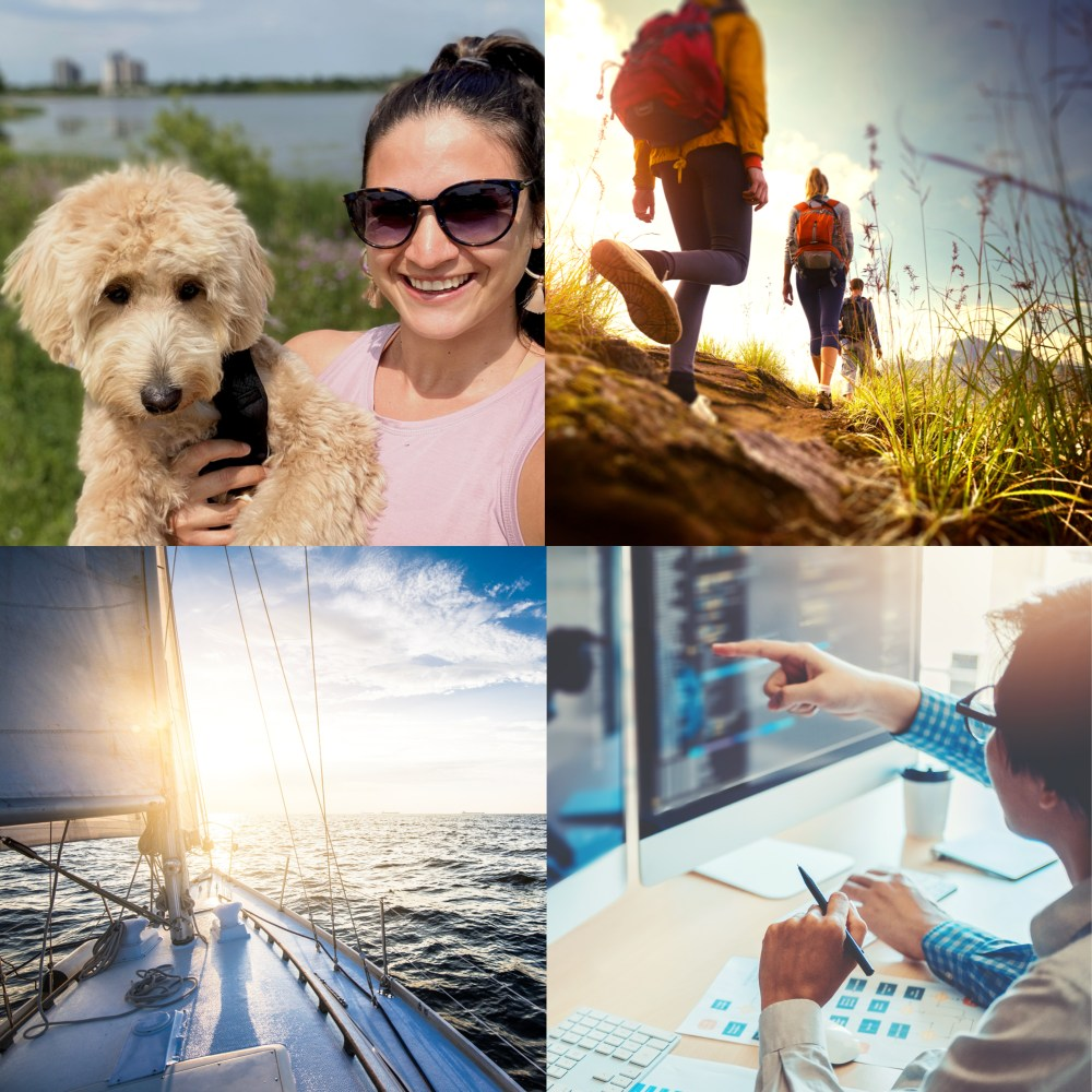 11Collage of woman and dog, hiking, boating, and office work